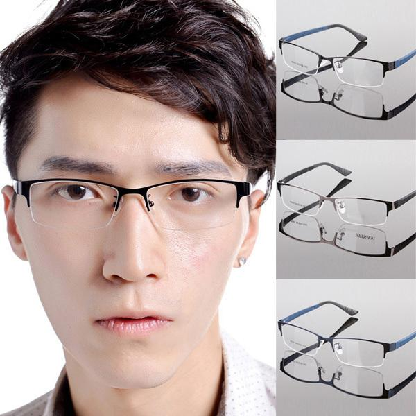 a3235b4cd37 Wholesale-Hot Men s Metal Frame Clear Lens Half Rim Eyewear Glasses ...