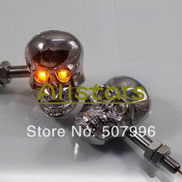 Wholesale Skull Turn Signal Indicators - Wholesale-Motorcycle Skull LED turn turn signal light indicator lights flash silver color SH-532