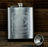 Hip gros-7 oz en acier inoxydable d'alcool Whiskey alcool Flask Cap + Entonnoir