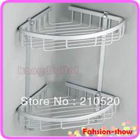 Wholesale Towel Bar Baskets - Wholesale-E79 1pc Two Layer Space Aluminum Towel Washing Shower Basket Bar Shelf For Bathroom Rack