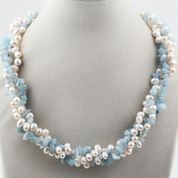 Wholesale Twisted Multi Strand Pearl Necklace - Wholesale-Trendy Design Multi Twisted Strands White Pearl and Aquamarine Woman Necklace