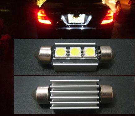 DC12V 36 39 42mm 핫 싱크 3 SMD 5050 자동차 자동차 전구 LED 번호판 LED FESTOON CANBUS