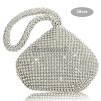 Wholesale Shell Wedding Bag - Wholesale-Rhinestones women clutch bags diamonds finger ring ladies vintage evening bags crystal wedding bridal handbags purse bags 35