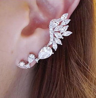 Wholesale Extravagant Earrings - Wholesale-Korea New Design Extravagant Rhinestone Leaf Earrings Fashion Ear Clip Women SE114