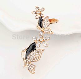 Wholesale Ear Cuffs For Sale - Wholesale-Hot Sale!Flower Butterfly Brincos Sparkling crystal earrings for woman left Ear Bone Ear Cuff Wrap Clip Earring(E-015)
