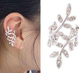 Wholesale Korean Style Cuff Earrings - Wholesale-New Women's Punk Rock Retro Earring Crystal Leaf Ear Cuff Warp Clip Ear Stud, cute , Korean style