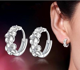 Wholesale Earring Back 925 - Wholesale-Lose money promotion flower shiny zircon 925 sterling silver ladies & girl clip earrings jewelry wholesale price
