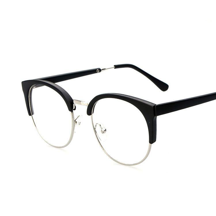 6068f05eb06 Wholesale-Vintage Round Lens Cat Eye Glasses for Men Half Rim Frames ...