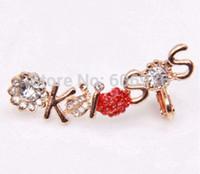 Wholesale Ear Cuffs For Sale - Wholesale-Hot Sale! Crystal Earrings Shape Romantic 'Kiss' Left Ear Cuffs Wrapped Ear Bones Clip Earrings for women gold