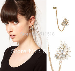 Wholesale Clip Chain Earrings Crystal - Wholesale-Latest exquisite beautiful Ear Cuff Chain Fashion Imitation Pearl Crystal Earrings Pierced Body Jewelry Free Shipping LM-C205