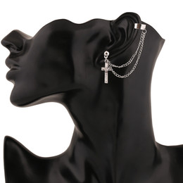 Wholesale Cuff Clip Cool Earring - Wholesale-Top Quality Hot Sale! Women Fashion Cool Rock Punk Crosses Tassel Chain Ear Wrap Cuff Women Clip Earring