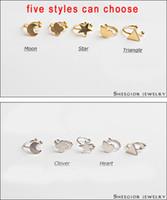 Wholesale ear clips hole - Wholesale-Big promotion 5 styles sweet earrings clip earring gold silver ear cuff pendientes punk no hole ear clips earings ear accessory