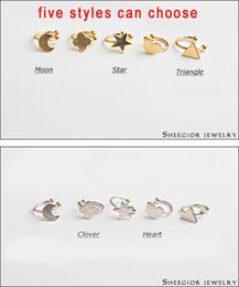 Wholesale Earings Punk Style - Wholesale-Big promotion 5 styles sweet earrings clip earring gold silver ear cuff pendientes punk no hole ear clips earings ear accessory