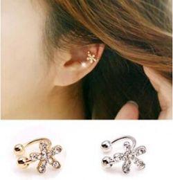 Wholesale Bone Inlay - Wholesale-ED468 Korean jewelry lovely inlaid diamond imitation flowers without pierced ear bones clip U-shaped starfish wholesale