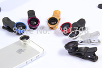 Wholesale Iphone5 Fish Eye - Wholesale-Fish Eye 3 in1 Clip-on Fisheye Wide Angle Macro Mobile Phone Camera Lens Kit For IPhone5 6Plus Samsung S5 Note 3 4 MI3 4S