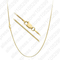 Wholesale Yellow Gold Necklace Clasp - Wholesale-Free Shipping 1PC Fashion Jewelry Necklace Chains Real 18k Yellow Gold Filled Snake Chain+Lobster Clasp For Pendant 16-30 Inches