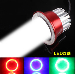 Wholesale Motorcycle Laser - Wholesale-New Car Auto Motorcycle 12-80V LED ultra light electric vehicle headlamps built-in 3 laser motorcycle angel eye LED headlight