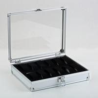 алюминиевый корпус для хранения оптовых-Оптовая продажа-1pcs12 сетки часы дисплей показать ящик для хранения чехол слоты ювелирные изделия коллекция хранения организатор держатель алюминиевый квадрат
