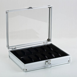 Wholesale Aluminium Squares - Wholesale-1pcs12 Grid Watches Display Show Storage Box Case Slots Jewelry Collection Storage Organizer Holder Aluminium Square
