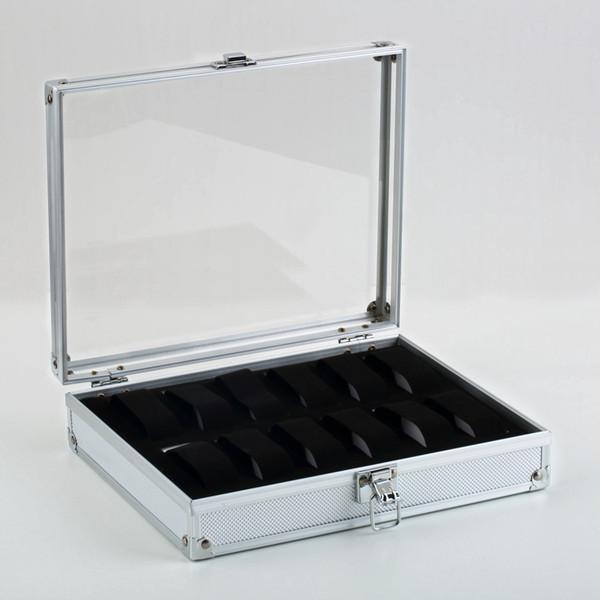 Al por mayor-1pcs12 Relojes de cuadrícula Display Show Storage Box Slots Joyería Colección Holder organizador de almacenamiento de aluminio cuadrado