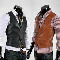 Wholesale Vest Leather Jackets For Men - Wholesale-High Quality Fashion Men Suit Vest Men's Pu Leather Vests,Men's Waistcoat,Vest Jacket For Casual Men,Free Shipping