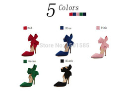 Wholesale Royal Blue Shoes Evening - Wholesale Sophia Webster Lady Evening Spring Royal Blue Footwear Red Nude Big Bow Tie Pumps Pointed Plus Size Summer High Heel Shoes