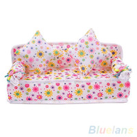 Wholesale Doll House Sofa - Wholesale-Mini Furniture Flower Sofa Couch +2 Cushions For Doll House Accessories 1U8J 4N9L