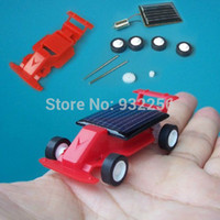 Wholesale Solar Power Mini Pc - Wholesale-Free Shipping + 2 PCS lot Plastic DIY Solar Powered Toys, Gift For Children Learning & Education - Mini Solar Race Car