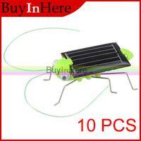 Wholesale Solar Powered Crickets - Wholesale-10PCS Novel Solar Powered Toy 6 Legs grasshopper Bug Cute Energy Science Sunlight Education Power Crazy Cricket For Children