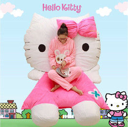 hello bedding Canada - Creative Cartoon HELLO KITTY Sofa 3D Bedding Sets Beanbag Tatami Mattress Supplies For Kids Xmas Birthday and Valentine's Day Gifts