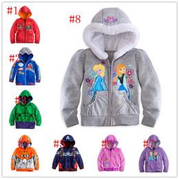Wholesale Cars Color Mcqueen - 2015 8 color kids frozen sofia hoodies boy Captain America mcqueen car hulk avengers coat girl printed jacket outwear jumpsuit