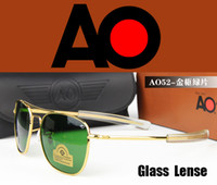 Wholesale Wholesale Brand Optical - Wholesale-with original package box case 2015 Army Military AO brand Sunglasses American Optical Glass Lenses Alloy Frame Sun Glasses