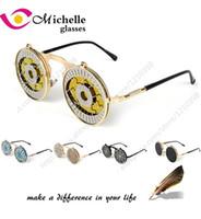 Wholesale Yellow Man Sunglasses Circle - Wholesale-Metal Vintage circle sunglasses men flip up design steampunk round sun glasses women brand goggles oculos gafas de sol masculino