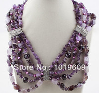 Elegante assortiti Ametista collana Bib Chips trasporto all'ingrosso-libero Multi Strand Big Style
