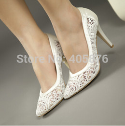 Wholesale White Satin Sexy Shoes - Wholesale- women cutout satin fabric size 33 high heel sexy lace wedding shoes shallow mouth pointed toe genuine leather bride pumps