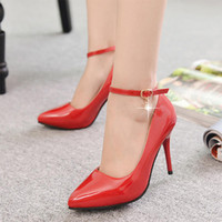 Wholesale Elegent Shoes - Wholesale-Women Pumps Sexy Buckle Ankle Strap Type Fashional Spring Autumn Pointed Toe Lady Elegent Spool Heel Wedding Shoes