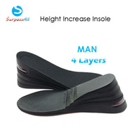 Wholesale Men Height Elevator Shoes - Wholesale-1 Pair PU 4 Layers Taller 8CM UP Air Cushion Height Increase Increasing Elevator Shoe Insoles Pad Lifts Inserts For Man
