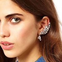 Gros-Hot Ear Trendy Elf Cuff clip Boucles d'oreilles strass alliage Brincos 2015 Marque Fashion Ladies Sexy Punk earcuff 537KKE
