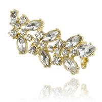 Wholesale Leaf Cuff Earrings - Wholesale-One pcs 2015 fashion high quality rhinestone ear cuff for women,crystal leaf earrings,designer gold silver earrings clips
