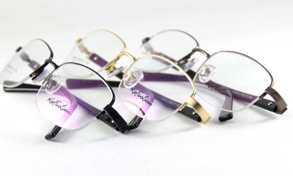 49aa8a5799 2019 Wholesale Wholesale Large Men S Glasses Frame Half Rimless Glasses  Optical Eyeglass Gold  Amp  Black  Amp  Gun Metal Metal Frame From Chikui
