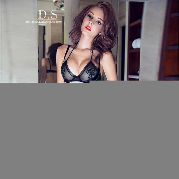 0ed2d8bfe6c6c Wholesale-B23 2015 lace lingerie bra sexy underwear Set Ultra thin Gauze  Lingerie Halter Transparent