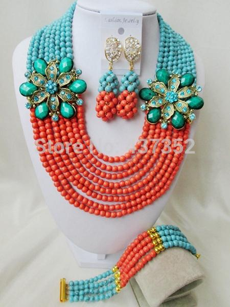 Wholesale-Marvelous! Teal Green and Coral Color Turquoise Double Flower Brooches Nigerian Wedding African  Jewelry Set TC049
