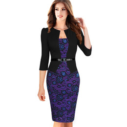 2019 оптовые платья из тартана Wholesale-2015 Women Summer Elegant Belted Tartan Lace Patchwork Tunic Wear to Work Business Casual Pencil Wiggle Sheath Dress 068