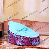 Wholesale girls beanbags chair pouffe cover with butterfly prints infant bean bag via China post air mail without filling