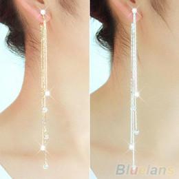 Wholesale Linear Chandelier - Wholesale-Women's Rhinestone Alloy Super Long Tassels Drop Dangle Cocktail Party Linear Earrings 2J65