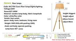 Wholesale Browning Tripod - Wholesale-Triangle Tripod Wooden Base Fabric Cloth Lampshade Camera Floor Lamps Bedroom Floor Lights Indoor Lighting Fixtures Wholesale