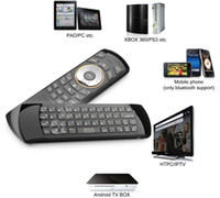 Wholesale Keyboard Usb Wireless Slim - Wholesale-Original Rii i25A US Layout 2.4Ghz Wireless Mini Air Fly Mouse Keyboard with IR Remote Learning and Earphone Jack