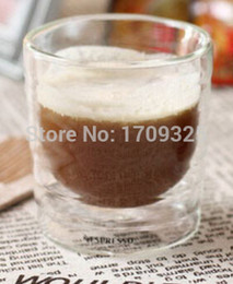 Wholesale Double Wall Glass Espresso Cup - Wholesale-Set of 2 pcs double wall Nestle Nespresso glass coffee cups mugs 150ML Espresso Citiz Lungo Capsule thermal glass
