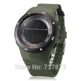 Wholesale Digital Watch Blue Lcd - Discount tactical watches no minimum Men's Digital LCD Multifunctional Rubber Band quartz ladies Wrist Watches Green Blue Brown