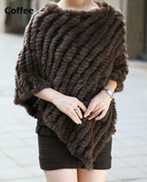 Wholesale Ladies Rabbit Fur Coats - Wholesale-Hot Sale Winter Coat Women , Ladies' Genuine Real Knitted Rabbit Fur Coat Female Fur Pashmina Shawls Poncho B6 CB030406